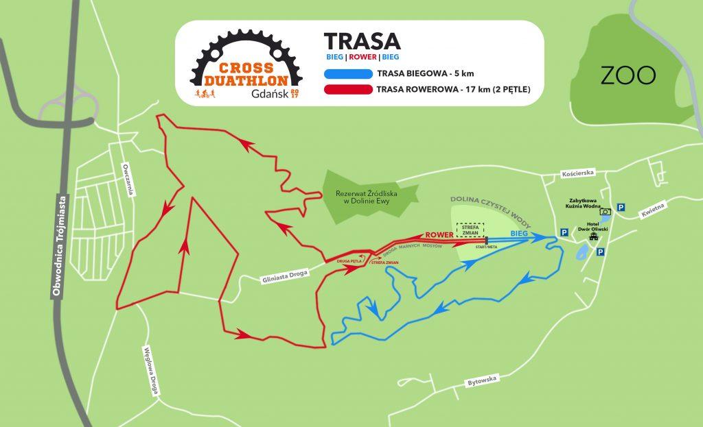 Cross Duathlon Gdańsk 2017 trasa